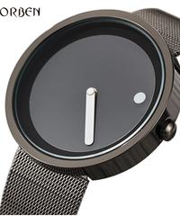 【全2色】 Gorbenクリエイティブシンプルドットラインウォッチメンズユニークスチールグリッド腕時計シンプルクロックファッションクォーツ時計