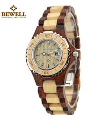 BEWELL 木製腕時計女性クォーツ腕時計女性カレンダー表示クォーツスポーツ腕時計