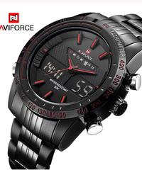 【全3色】 NAVIFORCE男性ファッションスポーツ時計メンズクォーツデジタルアナログ時計男フルスチール腕時計