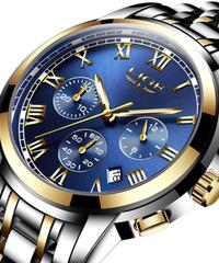 【全7色】 LIGEメンズ腕時計トップブランドの高級ファッションビジネスクォーツ時計メンズスポーツフルスチール防水腕時計