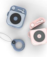 AirPodsケースカバー 充電ケースカバー レコードプレイヤー型保護カバー 落下防止ストラップ付き AirPods第1/2世代専用 音響機材デザイン
