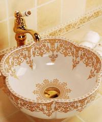 ヨーロッパスタイルの花の形の金の装飾セラミック磁器の浴室の流し