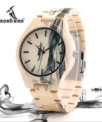 BOBO BIRD インク風景画メープルウッド腕時計トップブランドの高級メンズクォーツ腕時計