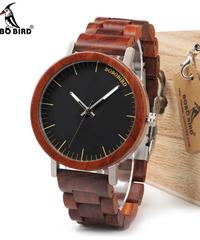BOBO BIRD ブランドデザインローズ木製腕時計金属ケース木製ストラップクォーツ腕時計