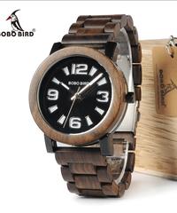 BOBO BIRD 木製金属蓋付き男性用腕時計大きい数字ダイヤル木製バンドクォーツ時計