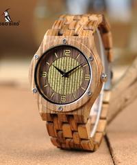 BOBO BIRD 木製腕時計時計メンズ·レディースカジュアルゼブラウッドバンドクォーツ時計
