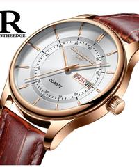 【全5色】 高品質ローズゴールドダイヤル時計メンズレザー防水30メートル腕時計ビジネスファッション日本クォーツムーブメント自動日付男性時計