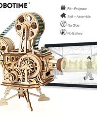 ROBOTIME 映写機 木製プラモデル バッテリー不要、接着剤不要 フィルム付き 3Dパズル Diyフィルムプロジェクター 知育玩具 大人新趣味 ギフト クリスマスプレゼント