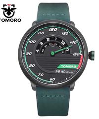 TOMORO メンズユニークなレーシングカー3Dデザイン牛革ストラップ高級ファッションスポーツブラッククォーツ腕時計