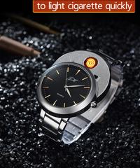 HUAYメンズウォッチクリエイティブフレームレスusbライターウォッチメンズクォーツ腕時計タングステンスチールウォッチ