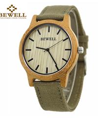 BEWELL ゼブラウッドバンブーハンドメイドクォーツムーブメント木製腕時計竹キャンバスストラップデザイン軽量男性カジュアルファッション