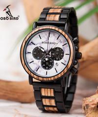 BOBO BIRD ウッドステンレススチールウォッチメンズ大理石模様防水時計クロノグラフミリタリークォーツ木製腕時計
