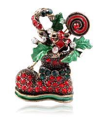 クリスマス2019  聖夜の菓子入れブーツ型ブローチ ドレスコートジュエリー  安全ピン ギフトにも!