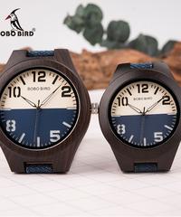 BOBO BIRD 男性女性時計愛好家クォーツ腕時計ギフト木製ボックス布地ストラップ