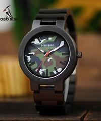 BOBO BIRD ファッションスポーツウッド腕時計迷彩色スタイリッシュな木製クォーツ腕時計