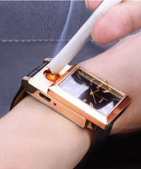 CkeyiNミリタリーライターウォッチUSB充電スポーツカジュアルクォーツ腕時計フレームレス防風ライタークロック