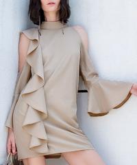 夏の女性のセクシーなシフォンミニドレス長袖フレアカジュアルショートパーティードレス冷たい肩ゆるいイブニングクラブボディコンドレス 5119