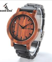 BOBO BIRD 男性女性木製腕時計紫檀ケーススケールダイヤル黒檀木製バンドクォーツ時計