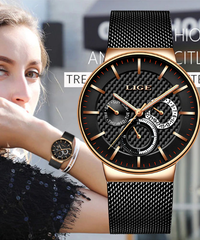 【全4色】 LIGE新しい女性ファッションウォッチクリエイティブレディカジュアル腕時計ステンレス鋼ワイヤーメッシュバンドスタイリッシュなデザイン高級クォーツ時計