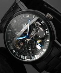 WINNERメンズトップブランドブラックメンズスケルトン腕時計ステンレス鋼アンティークスチームパンクな腕時計