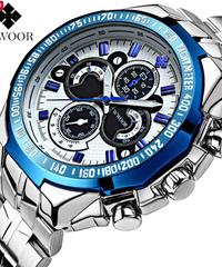 【全3色】 2019年新ブランドwwoor  メンズ腕時計 ブランドスポーツ腕時計 発光腕時計 ステンレススチールベルト