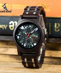 BOBO BIRD クロノグラフ腕時計軍人アーミーグリーン木製腕時計高級ステンレス鋼ウッドストラップ