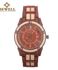 BEWELL レディース時計金属木材ダイヤル日付表示ヴィンテージ風木製腕時計