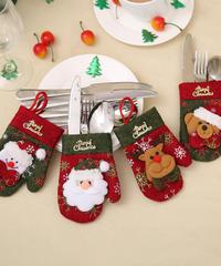 クリスマス2019 クリスマス食器カバー 手袋型 引っ掛けストラップ付 カトラリーホルダー