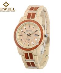 BEWELL レディース木製腕時計ラウンドダイヤル自動日付防水カジュアルツートンウッドウォッチ