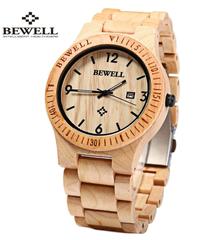 BEWELL ゼブラウッドハンドメイド木製腕時計アナログクォーツムーブメント自動日付男性腕時計