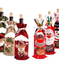 クリスマス2019 クリスマスボトルカバー 巾着スタイル ボトルデコレーション ギフト・プレゼントラッピング袋