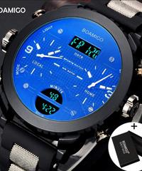 【全4色】 BOAMIGOブランド3タイムゾーンミリタリースポーツ腕時計男性LEDデジタルクォーツ腕時計