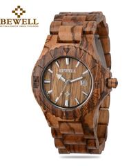 BEWELL オートデイト手作り天然木防水腕時計日本製クォーツムーブメント腕時計