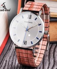 BOBO BIRD 木製クォーツ時計男女兼用腕時計ファッション木製ストラップクォーツ時計