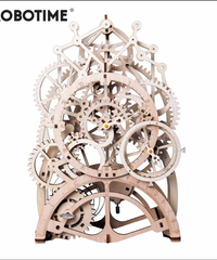 ROBOTIME 古式振り子時計 歯車式振り子時計 木製プラモデル インテリア 接着剤不要 3Dパズル Diy振り子時計知育玩具 大人新趣味 ギフト クリスマスプレゼント