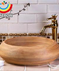 原始的なスタイル芸術的な手作りのブラッシュ仕上げラウンドカウンター洗面台セラミックバスルームのシンク フルセット