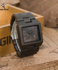 BOBO BIRD 木製男性腕時計長方形デザイン木材バンド腕時計黒檀木製長方形クォーツ腕時計