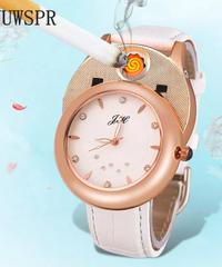 YUWSPRクォーツ時計ライターUSB充電スポーツカジュアルクォーツ腕時計フレームレス防風ライタークロック