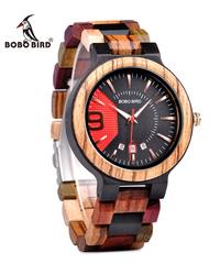 BOBO BIRD ミリタリーデザインユニークなダイヤル自動日付カラフルな木製腕時計木製時計メンズ高級日付表示ウッド日本製クォーツ時計