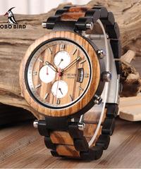 BOBO BIRD メンズウォッチメタル&ウッドルミナスクォーツムーブメントスポーツ腕時計