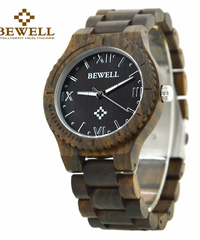 BEWELL メンズナチュラルウッド腕時計クォーツ防水時計ローマ数字ダイヤル