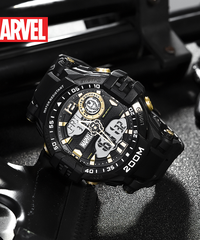 ディズニー公式 マーベルシリーズ腕時計 海外限定版 アベンジャーズアイアンマンデュアルディスプレイ防水時計
