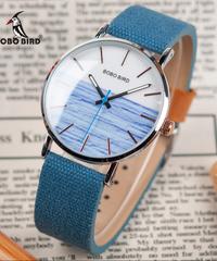 BOBO BIRD ウォッチメンズ日本Movtクォーツクロックステンレススチールケース腕時計ナイロンレザーストラップ