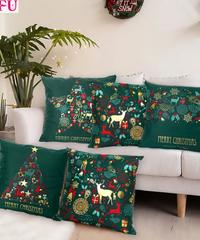 クリスマス2019 北欧デザイン  モミの葉色クッションカバー グリーンクッションカバー  クリスマス雑貨 クリスマスパーティー