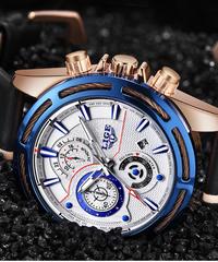 【全4色】 LIGEウォッチメンズファッションクォーツレザークロノグラフクロック男性用時計トップブランドの高級防水スポーツウォッチ