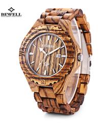 BEWELL ウッドウォッチ防水クォーツ木製バンドカレンダー高級男性ドレス腕時計