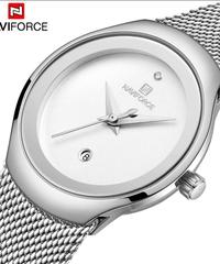 【全4色】 Naviforce女性腕時計トップ高級ブランドレディファッションカジュアルシンプルスチールグリッドストラップ腕時計