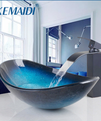 KEMAIDI 滝注ぎ口盆地黒蛇口+バスルームのシンク洗面台付き強化ガラスハンド塗装オイルラビングブロンズ仕上げ蛇口
