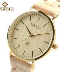 BEWELL ステンレスケース防水メンズウッドウォッチアナログクォーツ腕時計
