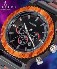 BOBO BIRD 51mmビッグサイズメンズウォッチウッドラグジュアリークロノグラフ腕時計良質クォーツムーブメントカレンダー